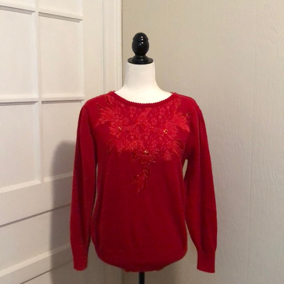 Vintage Sweaters - Vintage Floral Embroidered/ Beaded Red Sweater